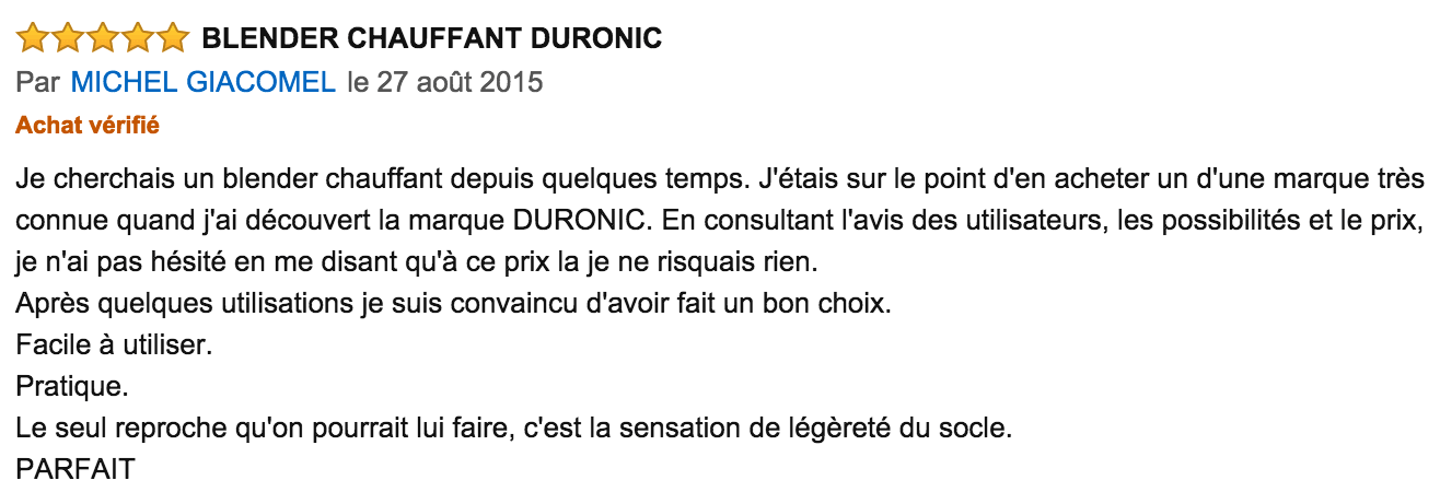 commentaire Duronic BL89