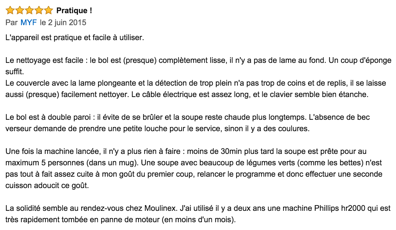 commentaire moulinex Easy Soup